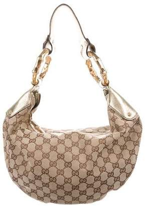Gucci GG Canvas Medium Bamboo Hobo
