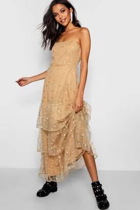 boohoo Boutique Sara Metallic Star Tierred Maxi Dress