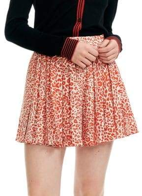 Maje Jimone Pleated Leopard-Print Mini Skirt