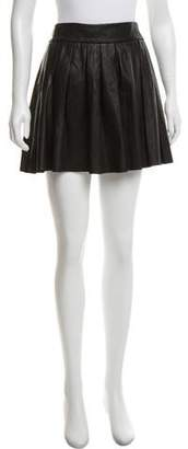 Alice + Olivia Pleated Leather Mini Skirt
