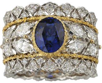 Buccellati Two-Tone 18k Diamond & Blue Sapphire Ring, Size 6.5