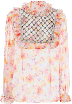 Dodo Bar Or Crystal-embellished floral blouse