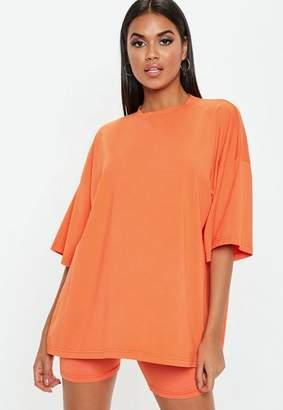 Missguided Orange Drop Shoulder Oversized T Shirt