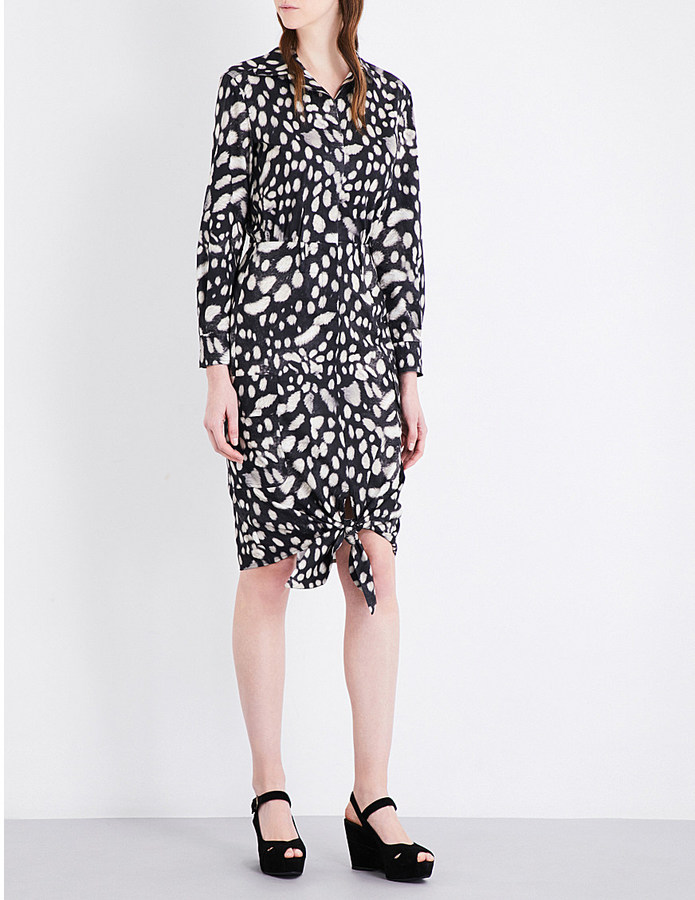 Max Mara Max Mara Leopard-print cotton shirt dress