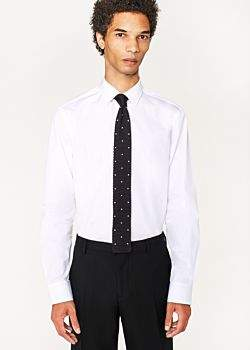 Paul Smith Men's Tailored-Fit White Cotton 'Artist Stripe' Cuff Shirt