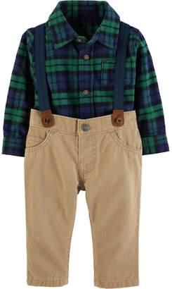 Carter's Baby Boy Plaid Shirt, Suspenders & Pants Set