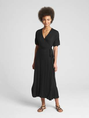 Gap Short Sleeve Wrap Maxi Dress