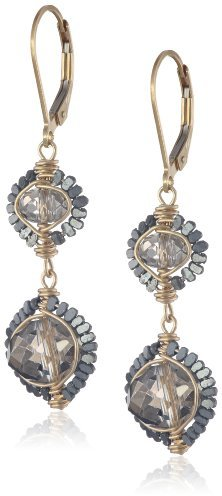 Dana Kellin Champagne Crystal Double Drop Earrings