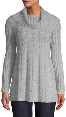 ST. JOHN'S BAY Womens Cowl Neck Long Sleeve Pullover Sweater