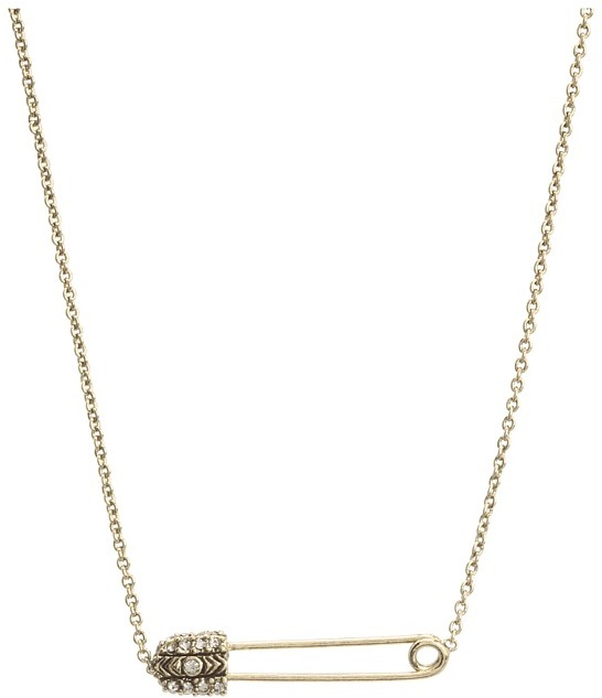 House Of Harlow Petite Safety Pin Necklace (Gold) - Jewelry