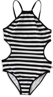Kate Spade Girls' Striped Side Cutout Swimsuit - Little Kid