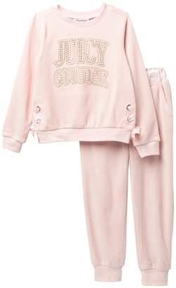 Juicy Couture Pink Velour Sweatshirt & Jogger Set\n(Little Girls)