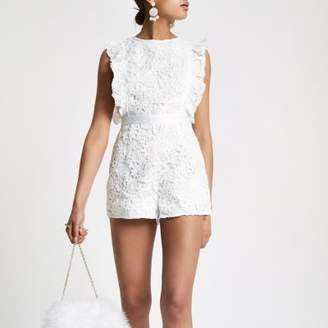 River Island Womens White lace frill sleeveless romper