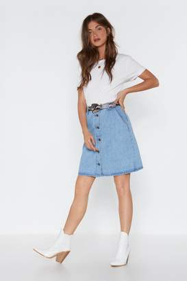 Nasty Gal Womens Going Down Denim Mini Skirt - Blue - 10, Blue