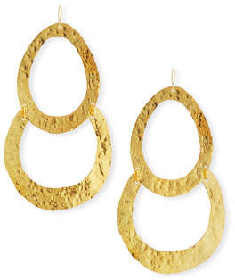 Devon Leigh Double Wedge Hammered Drop Earrings