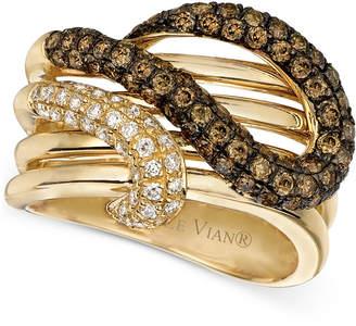 LeVian Le Vian Chocolatier Brown Diamond and White Diamond Twist Ring (1-1/6 ct. t.w.) in 14k Gold