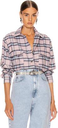 Etoile Isabel Marant Idaho Shirt in Pink & Blue   FWRD