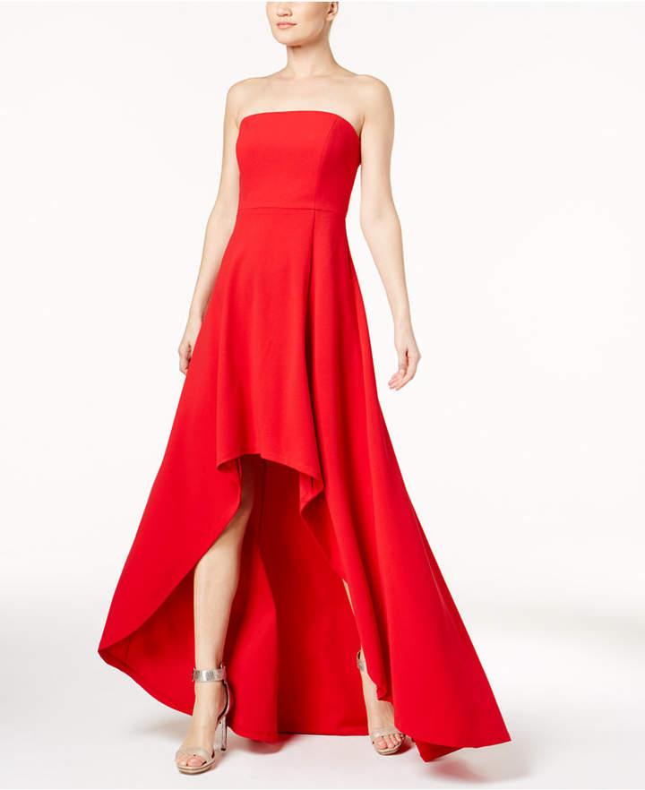 Calvin Klein Convertible Strapless High-Low Gown