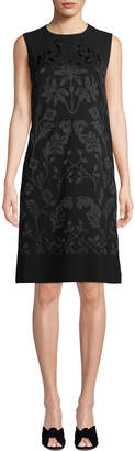 Lafayette 148 New York Mytle Sleeveless A-Line Crepe Dress with Hand-Embroidered Detail