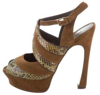Saint Laurent Snakeskin-Trimmed Platform Sandals