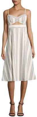 BCBGMAXAZRIA Peek-A-Boo Striped Cutout Midi Dress