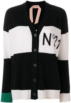 No.21 logo colour-block cardigan