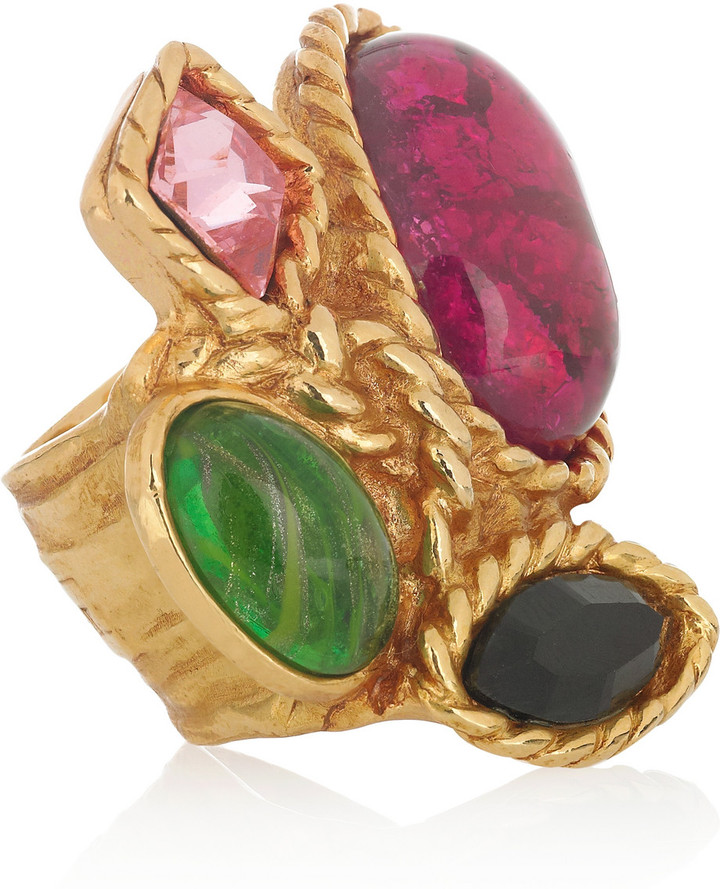 Yves Saint Laurent Arty'n Color gold-plated glass ring