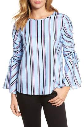 Halogen Ruched Sleeve Stripe Top