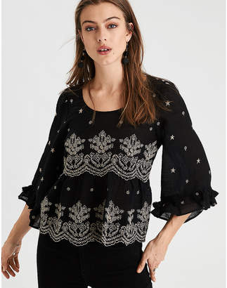 American Eagle AE Embroidered Bell Sleeve Top