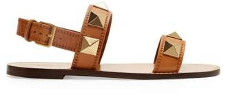 Valentino Lock Rockstud Leather Slingback Sandals - Womens - Tan