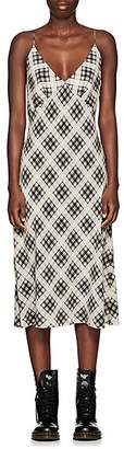 Marc Jacobs Women's Plaid Washed Silk Slipdress - White Pat.