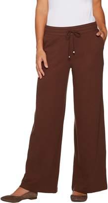 Denim & Co. Active Petite Waffle Knit Wide Leg Pants