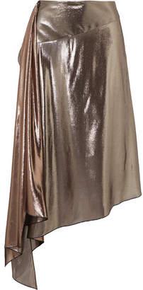 Givenchy Asymmetric Lamé Midi Skirt - Silver