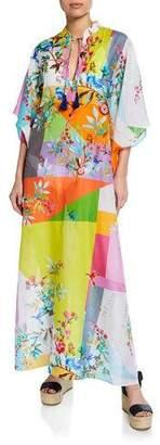 Johnny Was Plus Plus Size Dreamer Floral-Print Cotton-Silk Kaftan