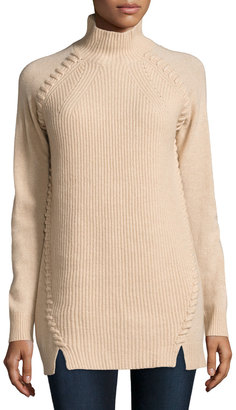 Neiman Marcus Cashmere Mock-Neck Tunic, Oatmeal $225 thestylecure.com