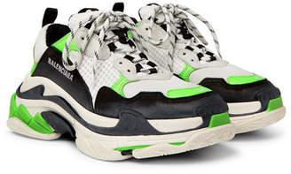Balenciaga Triple S Mesh, Nubuck And Leather Sneakers