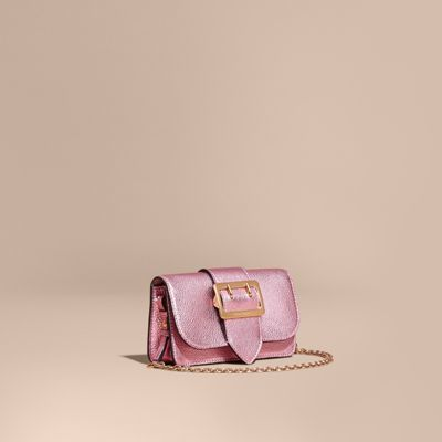 Burberry The Mini Buckle Bag in Metallic Grainy Leather