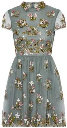 Valentino Sequin-Embellished Embroidered Tulle Mini Dress