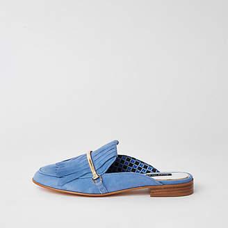River Island Blue suede tassel backless loafer
