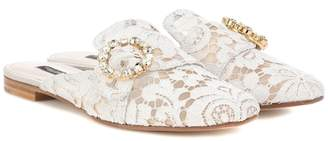 Dolce & Gabbana Embellished lace slippers