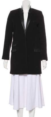 The Kooples Leather-Trimmed Short Coat