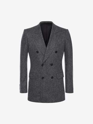 Alexander McQueen Double-Breasted Cashmere Tweed Jacket