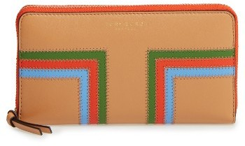 Tory Burch Women's Tory Burch Block T-Stripe Leather Continental Wallet - Brown