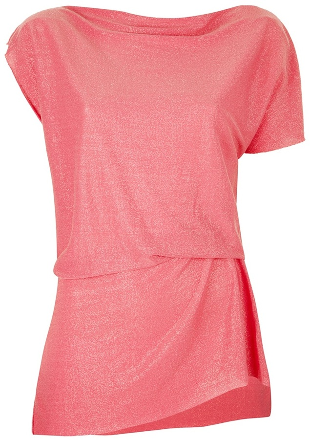 Nude gathered and pleat t-shirt