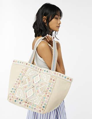 Monsoon Clara Cream Embroidered Tote Bag
