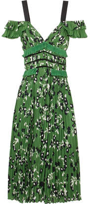 Self-Portrait Cold-shoulder Lace-trimmed Floral-print Plissé-crepe Dress - Green