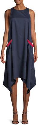 Badgley Mischka Chemise Sleeveless Dress w/ Handkerchief Hem