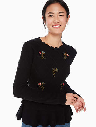 Kate Spade Embroidered Textured Sweater, Black - Size XL
