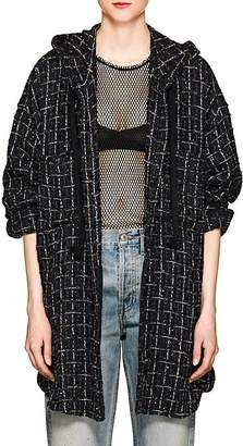 Faith Connexion Women's Sequined Tweed Hooded Shirt Jacket