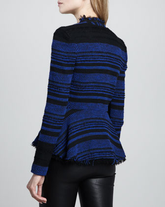 Rebecca Taylor Striped Leather-Trim Tweed Jacket